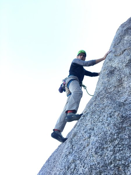 Steep lower slab section near right arete.