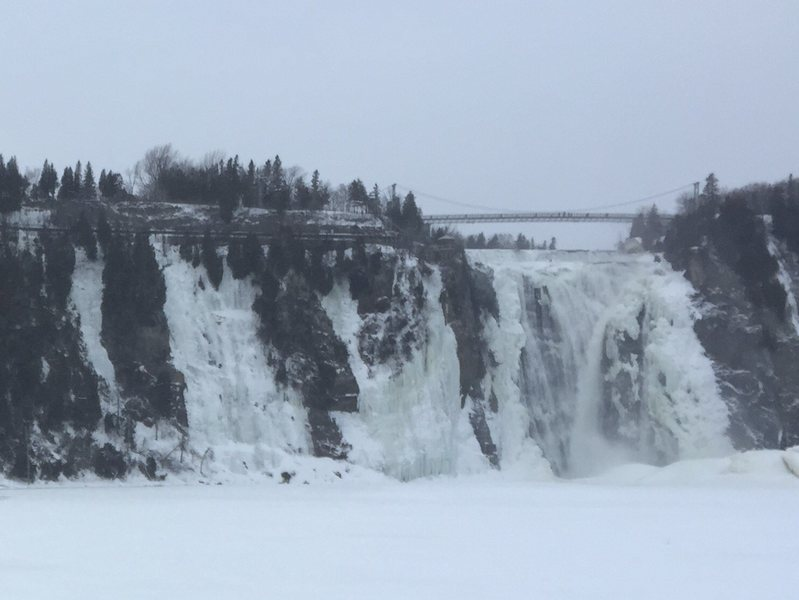 broader view of climbing areas to the left of the falls@SEMICOLON@ left, center, right