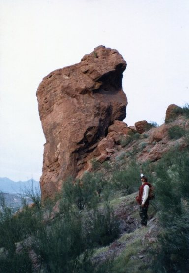 Dan Knowles after the first ascent of the Monks Chin with Richard. 1980?. Photo by Dano.