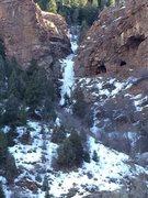 Rock Climbing Photo: Closer view of Bear Creek ice.