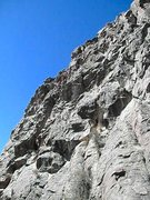 Rock Climbing Photo: Vitamin--the roof is in the middle of the photo ju...
