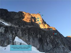 Rock Climbing Photo: Overlay. All pitches except P3 can be easily linke...