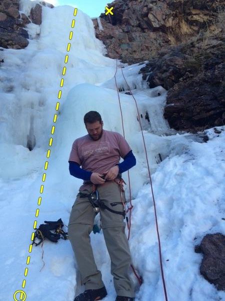 View of Bear Creek Falls climb.