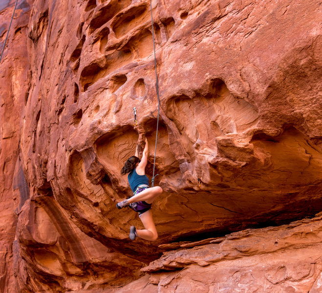 Rock Climbing Photo: Swinging trying to pull the roof