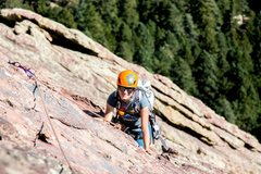 Rock Climbing Photo: Swinging far left of the eyebolts to avoid the obs...