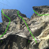 View up from the Predator belay ledge.<br> 1. Predator <br> 2. The Opportunist <br> 3. Tropicana (Pitch 2)
