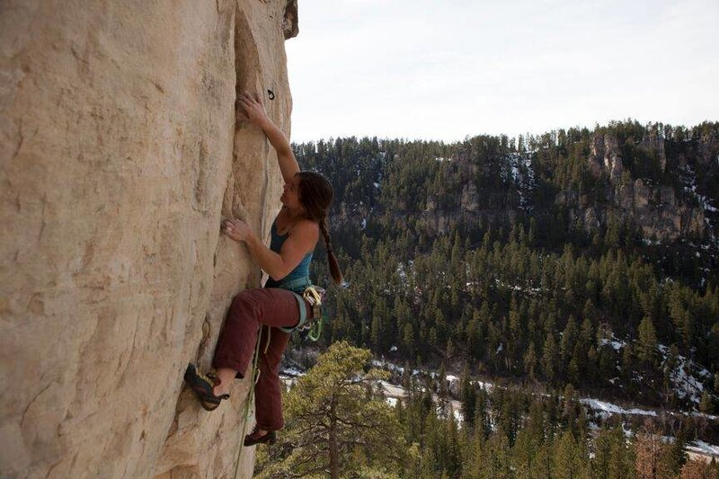 Alison on Spanish Fly, 5.12c<br> <br> Photo credit goes to Tyler K.