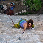 Rock Climbing Photo: sam onsighting wyoming flower child