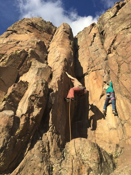 Rock Climbing Photo: Leader on Crawling Up Roseanne's Belly.  TR on Bim...