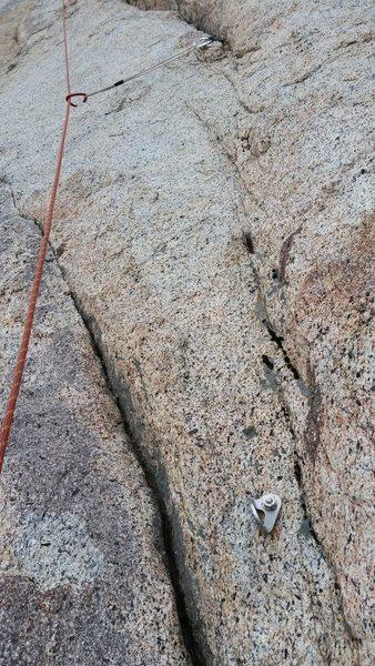 Rock Climbing Photo: First pitch bolt next to decent placements