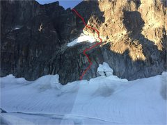 Rock Climbing Photo: Route to main tower west ridgeline. Alternate vari...