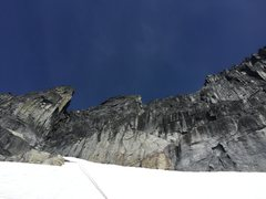 Rock Climbing Photo: A look at the terrain between the snowfield and ri...