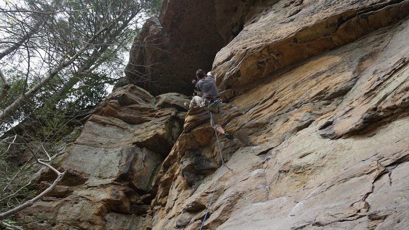 Rock Climbing Photo: Heel Hooking on Stay Off the Radio
