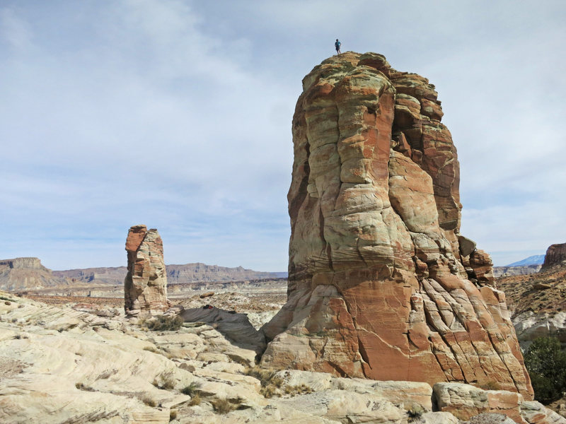 Rock Climbing Photo: Kevin Kent atop Chevy's Tower, with Steve's Tower ...