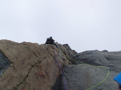 Rock Climbing Photo: Looking up P6 as climber moves to the arete.
