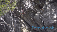 Rock Climbing Photo: On the F.A. of Tomahawk