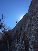 Rock Climbing Photo: Cleaning Atomic Knee Drop while lowering after my ...