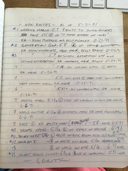 Original route notes from FA's at Williamson