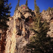 Rock Climbing Photo: The climber is just below the roof in the upper po...