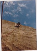 Don Thompson climbing the old aid route back in 1974.