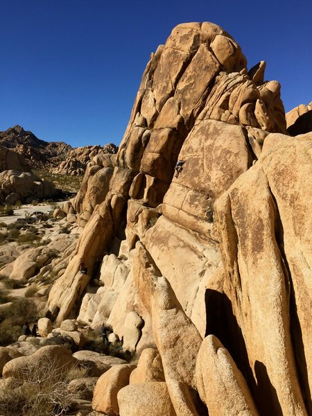 Climbing up just past the crux. Great warm up route just behind campsite #3.