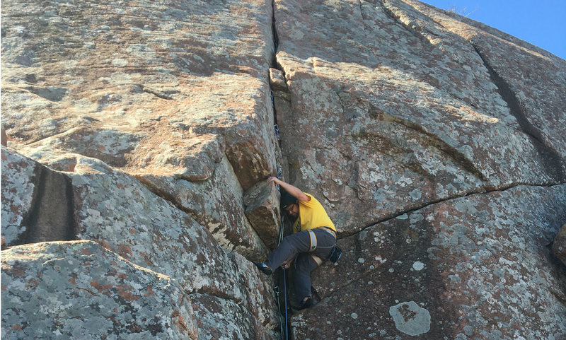 Rock Climbing Photo: Below the crux of atomic knee drop