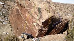 Rock Climbing Photo: 1. JJMP (V7). 2. Undone Left JJMP. 3. The Suggahs ...
