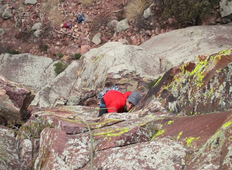 Rock Climbing Photo: Wade M. follows P2 of Super Slab Direct Start.