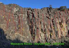 Rock Climbing Photo: Asylum Wall - Upper ledge Area A. ADHD, 10a ** B. ...