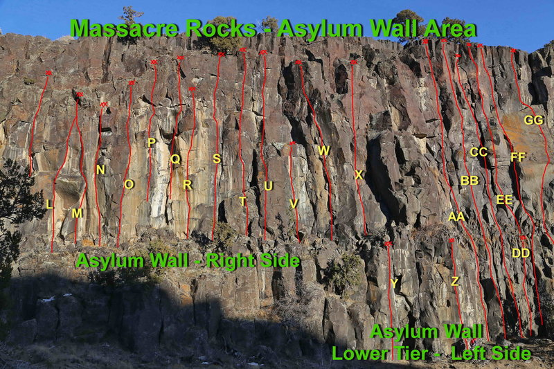 Asylum Wall - Upper Ledge Area - Right<br> Routes L - X<br> <br> L.  Pyscho Billy, 11c/d **<br> M. Sweethearts of the Rodeo, 11b/c **<br> N. Perverts Pleasures, 12a ****<br> O. Cat-a-tonic, 12a ****<br> Q. Oedipus Complex, 11b ***<br> R. Maniac, 12b ****<br> S. Amnesia, 11c ****<br> T.  It's Time For Your Medication, 11c *<br> U. Pathological Flyer 11c/d ***<br> V.  Zigman Void, 11d ****<br> W. Freudian Slip, 11a ****<br> X.  Off Your Rocker, 10d **<br> <br> Asylum Wall - Lower Tier - Left<br> Routes Y - GG<br> <br> Y.  Still Crazy After All These Years, 11d ***<br> Z.  Seizure, 12b/c **<br> AA.  Nut Case, 10a *<br> BB.  Serial Driller, 11c/d ***<br> CC.  Crack Baby, 10b ***<br> DD.  Nurse Ratchet, 5.9 ***<br> EE.   Dr. Feelgood, 11c/d **<br> FF.   Ted & Marty's Wonderful Adventure, 10d *<br> GG. Sketch-O-Frantic, 11c ***<br>