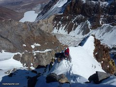 Rock Climbing Photo: Cool snow arete up above the tech stuff.