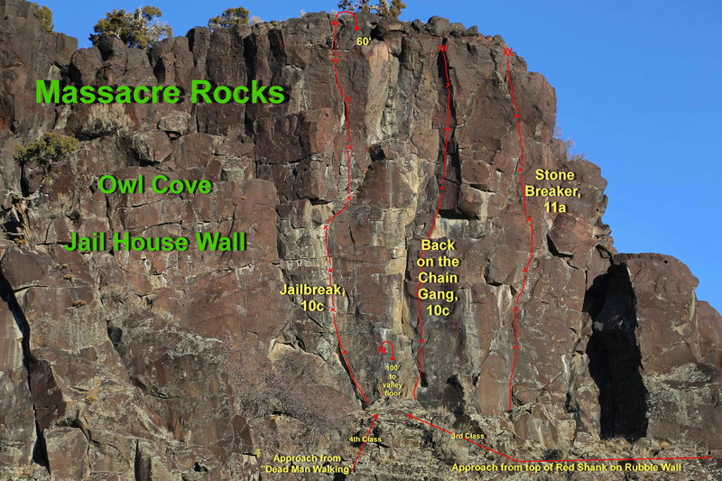 Nice routes on the excellent stone of Jail House Wall.