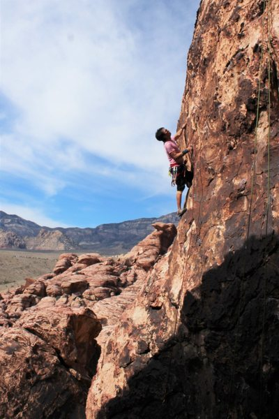 Rock Climbing Photo: good sightseeing ledge before the crux.