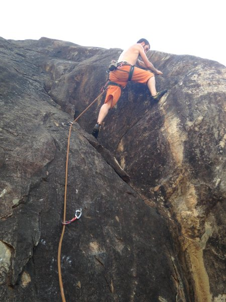 Rock Climbing Photo: The lower section of corner shop.  Brian is making...