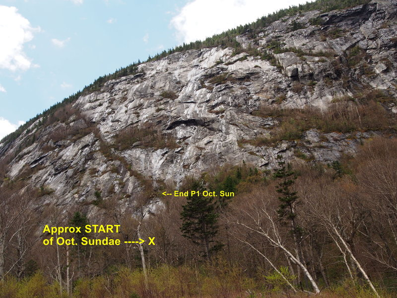 Left Section of cliff - from about 20-25 min. on the trail (&quot;mates&quot; with Middle Section)<br> <br> Approx. START of Oct. Sundae shown.