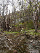 Rock Climbing Photo: Just beyond stream crossing, Oct. Sundae visible t...