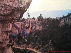 Darryl Roth on Dave's Dangle. <br /> <br />Photo by Dan Heidenreich, 1988, <br />from Mark Van Horn and Sally Moser's <br /><em>Rock & Ice</em> Guide, issue #26, <br />The first Shelf Road topos. <br />