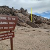 Erin's Valentine can be seen from this sign on the northern side of Alabama Hills