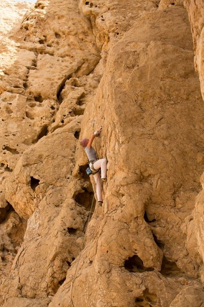 Slabby 5.10ish on the center of the wall.