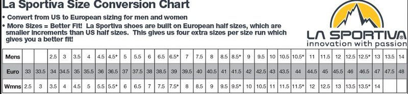 Rock Climbing Photo: Sportiva size chart