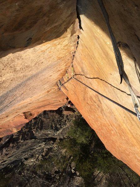 Splitter finger-crack dihedral...  Bullet hard Arkansas sandstone!
