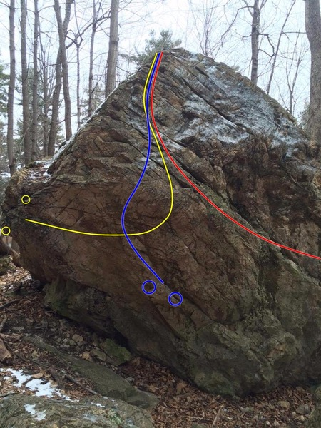 Traverse from Left in yellow.<br> Obvious Overhang in blue.<br> Traverse from Right in red.