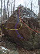Rock Climbing Photo: Traverse from Left in yellow. Obvious Overhang in ...