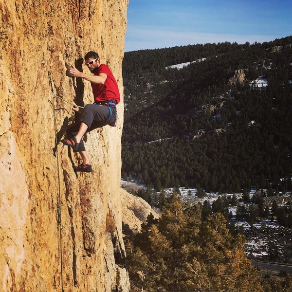 Jamie on rad left hand side-pulls at the 3rd bolt of Bombs over Crag Bag