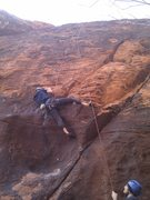 Rock Climbing Photo: Chris climbing out of the bowl. The first bolt is ...