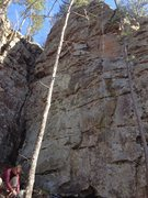 This shows all three 5.8s but has the outside most route roped up. Best 8s at the crag.
