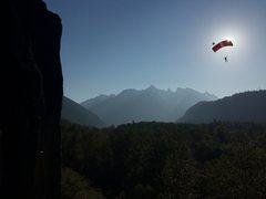 Rock Climbing Photo: Base Jumper over Index Taken by S. Gellespie