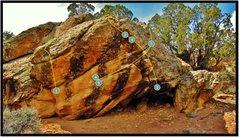 Rock Climbing Photo: The Cat Purrs Atop problem beta, number 1.
