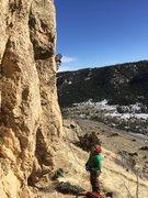 Rock Climbing Photo: Ben scoping around the arete.