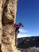 Mandy, well poised on the arete and making it look easy!